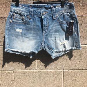 NWT MISS ME Frayed Hem Blue Denim Jean Shorts SZ30